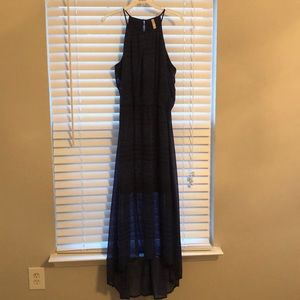 Blue and black printed high low maxi dress